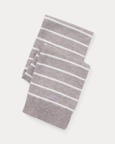 폴로 랄프로렌 Polo Ralph Lauren Striped Cashmere-Blend Scarf,Light Grey Heather