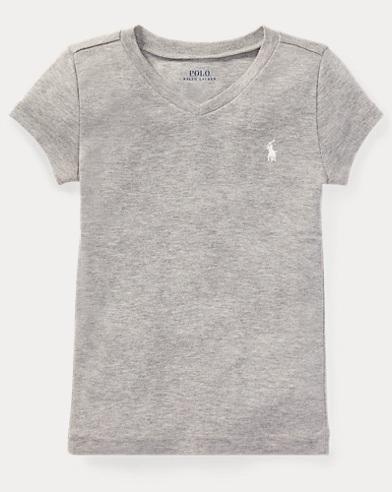 폴로 랄프로렌 여아용 반팔 티셔츠 라이트 그레이 Polo Ralph Lauren Jersey V-Neck T-Shirt