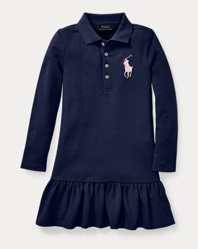 폴로 랄프로렌 여아용 빅 포니 스트레치 메시 원피스-  네이비 Polo Ralph Lauren Big Pony Stretch Mesh Dress,French Navy, 443439