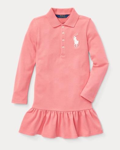 폴로 랄프로렌 여아용 빅 포니 스트레치 메시 원피스 - 핑크 Polo Ralph Lauren Big Pony Stretch Mesh Dress,Dolce Pink, 443439