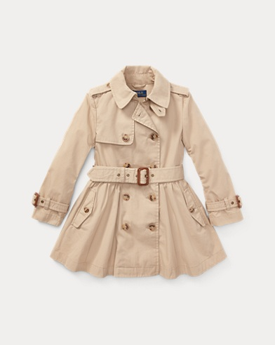 폴로 랄프로렌 여아용 코트 카키 Polo Ralph Lauren Cotton Trench Coat,Classic Khaki
