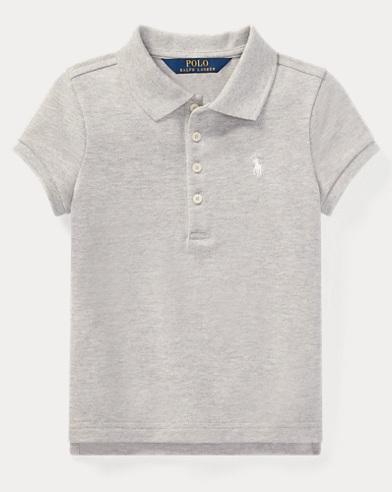 폴로 랄프로렌 여아용 반팔 카라티 라이트 그레이 Polo Ralph Lauren Stretch Pique Polo Shirt,Light Grey Heather