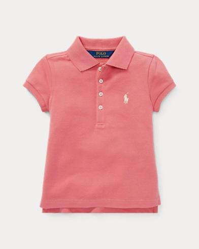 폴로 랄프로렌 여아용 반팔 카라티 핑크 Polo Ralph Lauren Stretch Pique Polo Shirt,Deco Pink