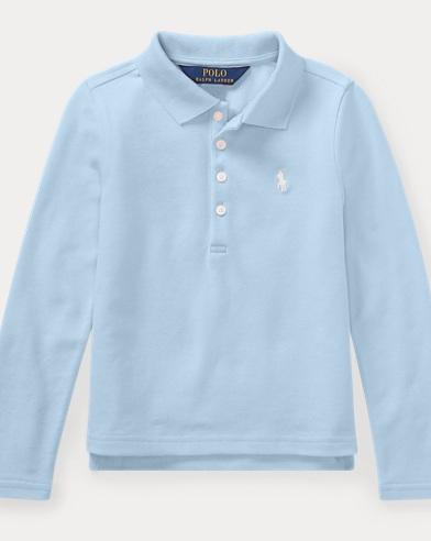 폴로 랄프로렌 여아용 긴팔 카라티 엘리트 블루 Polo Ralph Lauren Stretch Cotton Mesh Polo Shirt,Elite Blue