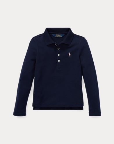 폴로 랄프로렌 여아용 긴팔 카라티 네이비 Polo Ralph Lauren Stretch Cotton Mesh Polo Shirt,French Navy