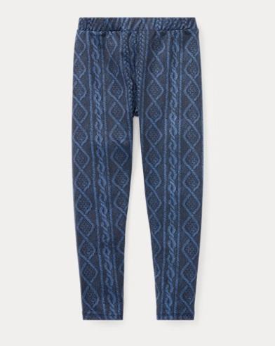 폴로 랄프로렌 여아용 레깅스 네이비/블루 Polo Ralph Lauren Cable Stretch Jersey Legging,Navy/Blue Multi