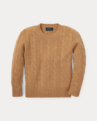 폴로 랄프로렌 남아용 꽈배기 캐시미어 스웨터 카멜 멜란지 Polo Ralph Lauren Cable-Knit Cashmere Sweater