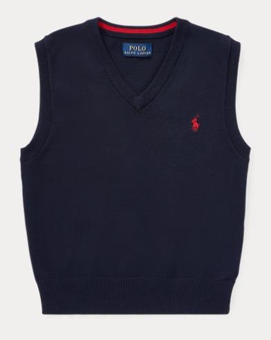 폴로 랄프로렌 Polo Ralph Lauren Cotton Sweater Vest,Navy Heather