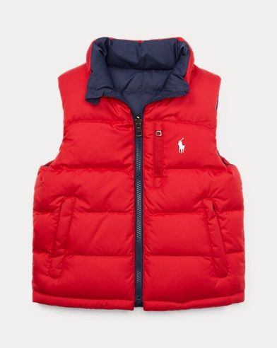 폴로 랄프로렌 남아용 리버시블 베스트 레드 Polo Ralph Lauren Reversible Ripstop Down Vest,Polo Sport Red