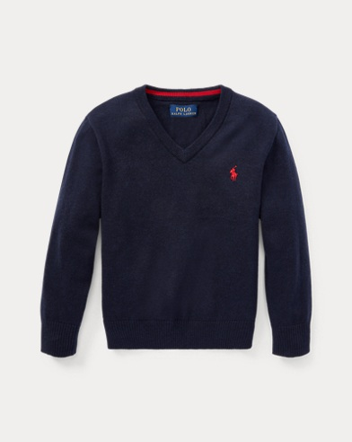 폴로 랄프로렌 남아용 V-넥 스웨터 네이비 Polo Ralph Lauren Cotton V-Neck Sweater,Navy Heather
