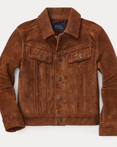 폴로 랄프로렌 남아용 스웨이드 자켓 탄 Polo Ralph Lauren Suede Trucker Jacket,Rustic Tan