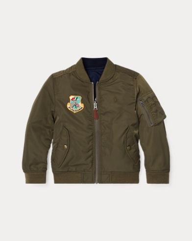 폴로 랄프로렌 남아용 양면 붐버 자켓 Polo Ralph Lauren Reversible Twill Bomber Jacket,Olive/Navy