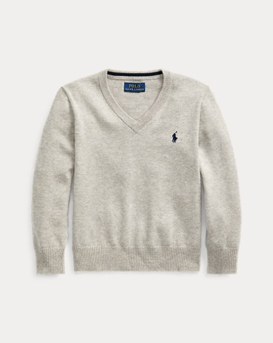 폴로 랄프로렌 남아용 V-넥 스웨터 Polo Ralph Lauren Cotton V-Neck Sweater,Andover Heather