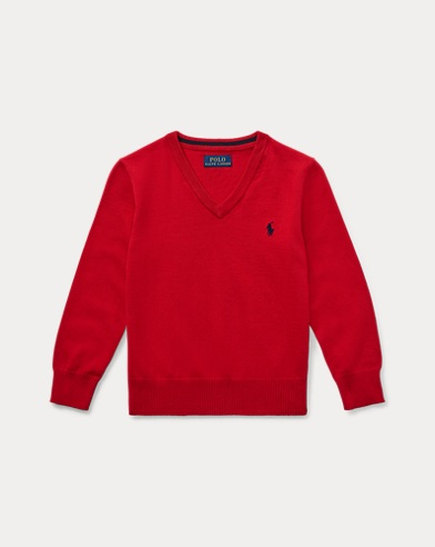 폴로 랄프로렌 남아용 V-넥 스웨터 Polo Ralph Lauren Cotton V-Neck Sweater,Ralph Red
