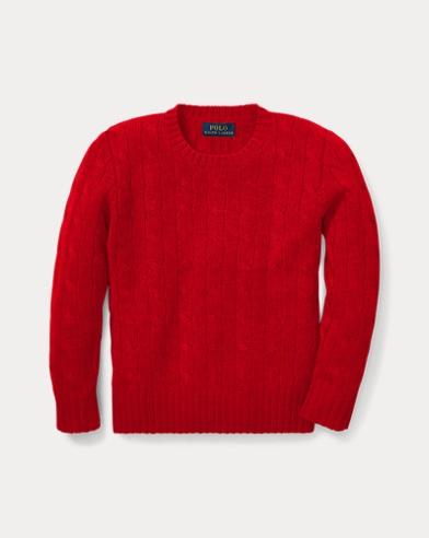 폴로 랄프로렌 남아용 꽈배기 니트 캐시미어 스웨터 레드 Polo Ralph Lauren Cable-Knit Cashmere Sweater