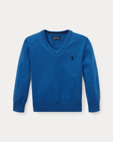 폴로 랄프로렌 남아용 V-넥 스웨터 Polo Ralph Lauren Cotton V-Neck Sweater,Blue Heather