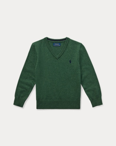 폴로 랄프로렌 남아용 V-넥 스웨터 Polo Ralph Lauren Cotton V-Neck Sweater,Green Heather