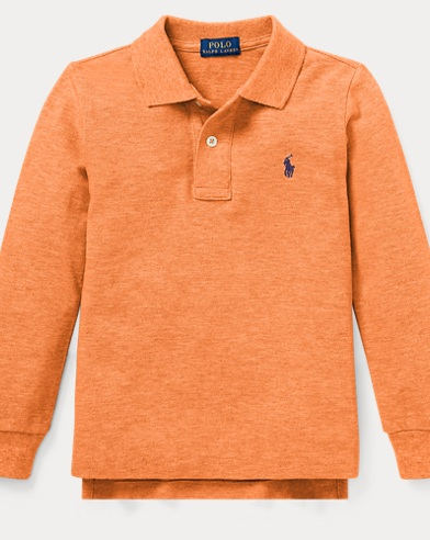 폴로 랄프로렌 남아용 긴팔 카라티 오렌지 Polo Ralph Lauren Cotton Mesh Polo Shirt,True Orange Heather