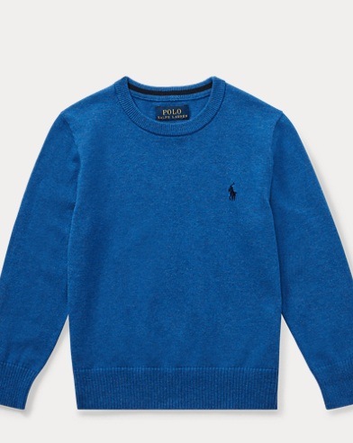 폴로 랄프로렌 남아용 스웨터 Polo Ralph Lauren Cotton Crewneck Sweater,Blue Heather