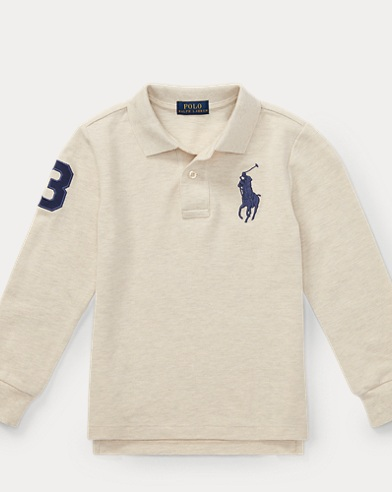 폴로 랄프로렌 남아용 긴팔 카라티 샌드 Polo Ralph Lauren Cotton Mesh Polo Shirt,New Sand Heather