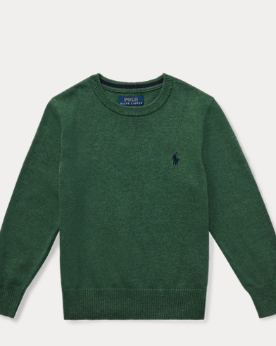 폴로 랄프로렌 남아용 스웨터  Polo Ralph Lauren Cotton Crewneck Sweater,Green Heather