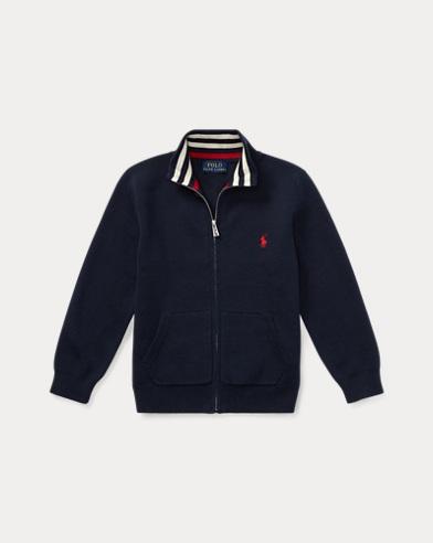 폴로 랄프로렌 Polo Ralph Lauren Cotton Full-Zip Sweater,헌터 Hunter Navy Muli