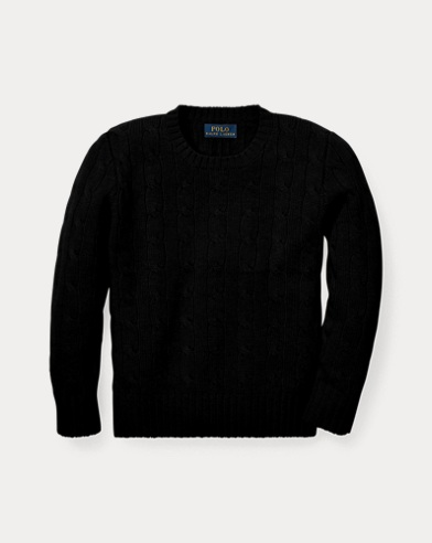폴로 랄프로렌 남아용 꽈배기 스웨터 블랙 Polo Ralph Lauren Cable-Knit Cashmere Sweater,Polo Black