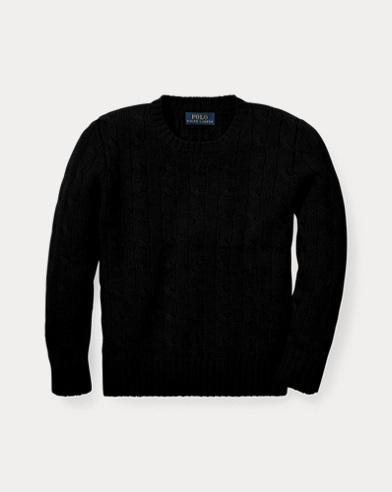 폴로 랄프로렌 남아용 꽈배기 캐시미어 스웨터 블랙 Polo Ralph Lauren Cable-Knit Cashmere Sweater,Polo Black