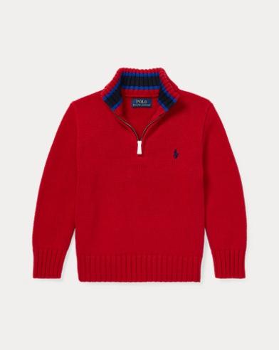 폴로 랄프로렌 남아용 하프 집업 스웨터 레드 Polo Ralph Lauren Cotton Half-Zip Sweater,Park Avenue Red