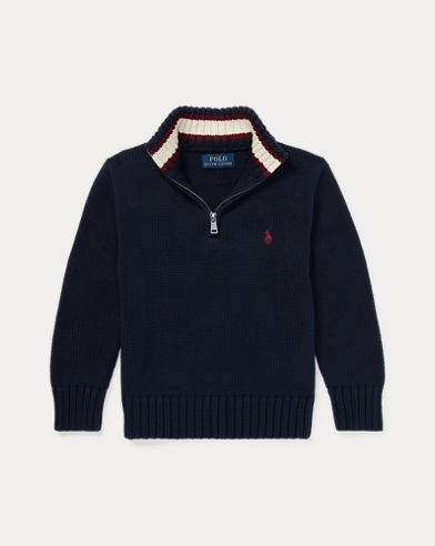 폴로 랄프로렌 남아용 하프 집업 스웨터 Polo Ralph Lauren Cotton Half-Zip Sweater,Hunter Navy