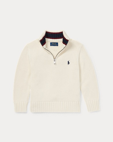 폴로 랄프로렌 남아용 하프 집업 스웨터 Polo Ralph Lauren Cotton Half-Zip Sweater,Guide Cream