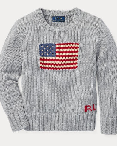 폴로 랄프로렌 남아용 스웨터 Polo Ralph Lauren Flag Cotton Crewneck Sweater,Andover Heather