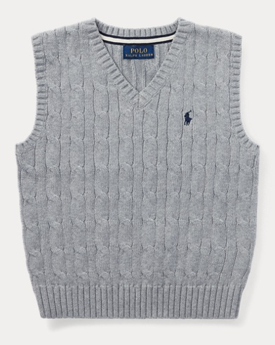 폴로 랄프로렌 남아용 꽈배기 스웨터 그레이 Polo Ralph Lauren Cable-Knit Cotton Sweater Vest,Andover Heather