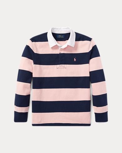 폴로 랄프로렌 남아용 핑크포니 긴팔 럭비셔츠 - 러브 핑크, 스프링 네이비 Polo Ralph Lauren Pink Pony Striped Cotton Rugby