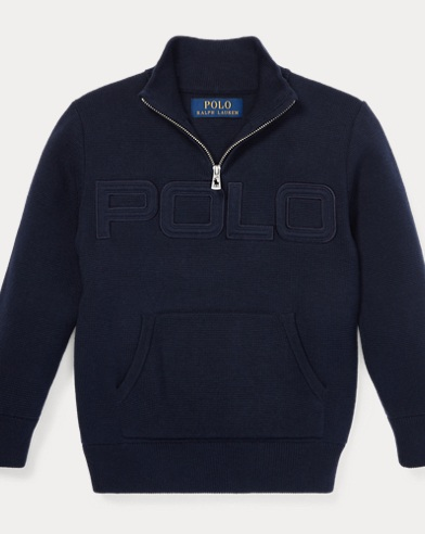 폴로 랄프로렌 남아용 스웨터 네이비 Polo Ralph Lauren Cotton Half-Zip Sweater, Hunter Navy