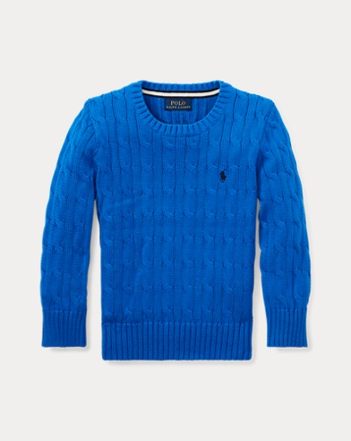 폴로 랄프로렌 남아용 꽈배기 스웨터 Polo Ralph Lauren Cable-Knit Cotton Sweater,Keel Blue