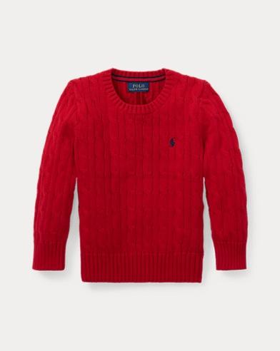 폴로 랄프로렌 Polo Ralph Lauren Cable-Knit Cotton Sweater,Ralph Red
