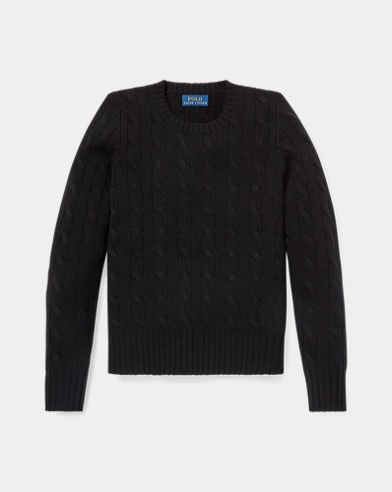 폴로 랄프로렌 걸즈 꽈배기 니트 캐시미어 스웨터 블랙 Polo Ralph Lauren Cable-Knit Cashmere Sweater