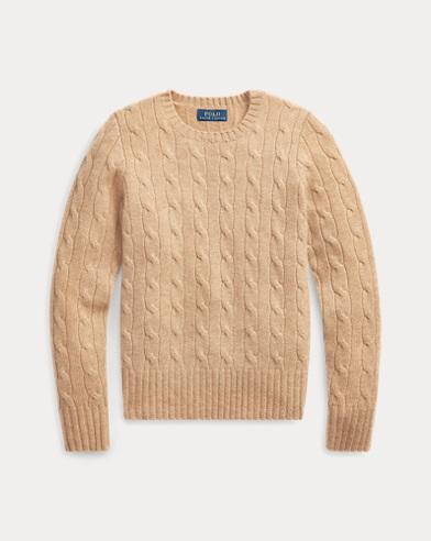 폴로 랄프로렌 걸즈 꽈배기 니트 캐시미어 스웨터 카멜 멜란지 Polo Ralph Lauren Cable-Knit Cashmere Sweater