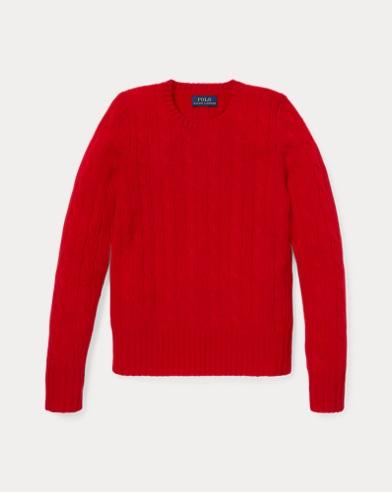 폴로 랄프로렌 걸즈 캐시미어 꽈배기 스웨터 레드 Polo Ralph Lauren Cable-Knit Cashmere Sweater,RL 2000 Red