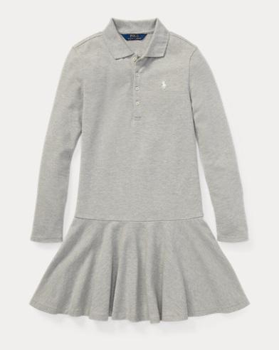 폴로 랄프로렌 걸즈 원피스 라이트 그레이 Polo Ralph Lauren Stretch Mesh Polo Dress,Light Grey Heather