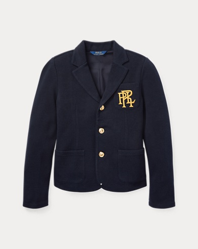 폴로 랄프로렌 걸즈 블레이저 네이비 Polo Ralph Lauren Knit Cotton-Blend Blazer,Aviator Navy