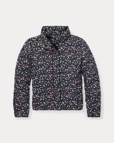 폴로 랄프로렌 Polo Ralph Lauren Floral Quilted Down Jacket,Navy/Pink Multi
