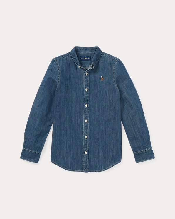 폴로 랄프로렌 걸즈 청셔츠 Polo Ralph Lauren Cotton Denim Shirt,Indigo