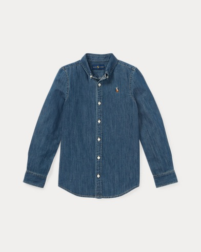 폴로 랄프로렌 걸즈 데님 셔츠 Polo Ralph Lauren Cotton Denim Shirt,Indigo