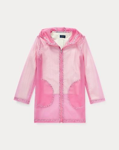 폴로 랄프로렌 걸즈 레인 코트 핑크 Polo Ralph Lauren Floral Transparent Raincoat,Laguna Pink