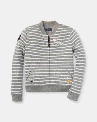 폴로 랄프로렌 Polo Ralph Lauren Striped Baseball Jacket,Light Grey Heather/White