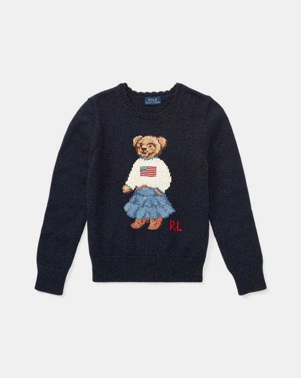 폴로 랄프로렌 걸즈 스웨터 Polo Ralph Lauren Polo Bear Cotton Sweater,Hunter Navy