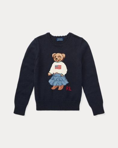 폴로 랄프로렌 걸즈 스웨터 Polo Ralph Lauren Polo Bear Cotton Sweater,헌터 Hunter Navy
