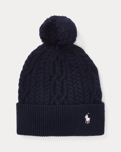 폴로 랄프로렌 걸즈 털방울 모자 네이비 Polo Ralph Lauren Aran-Knit Pom-Pom Hat, Hunter Navy